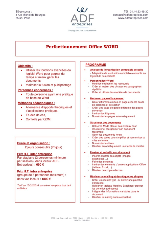 Perfectionnement Office Word