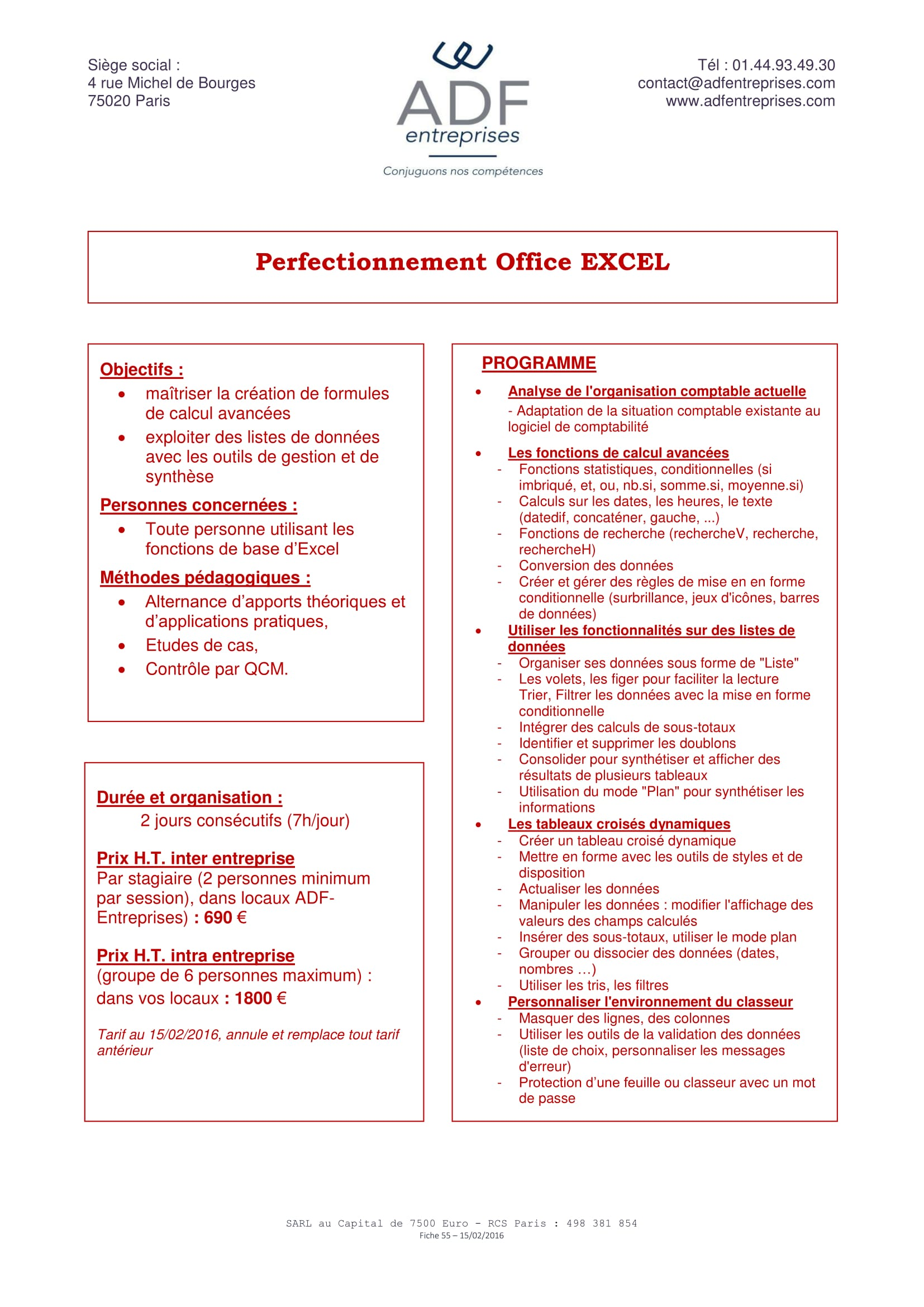 Perfectionnement Office Excel