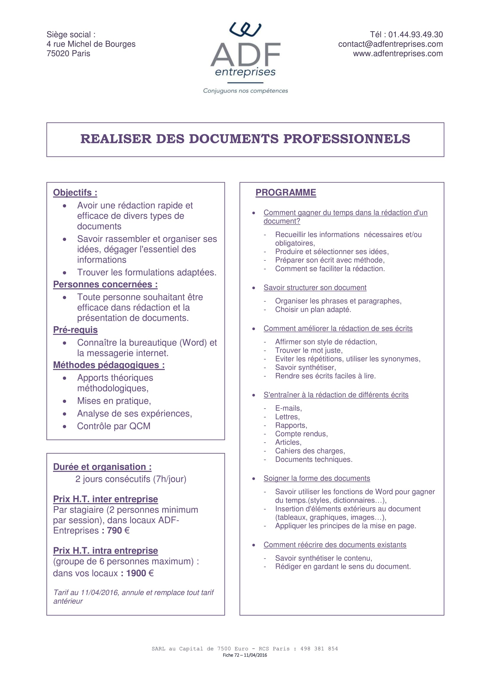 Réaliser des documents professionnels